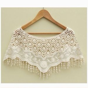 Tops - SALE! Spring Fringe Floral Crochet Lace Poncho